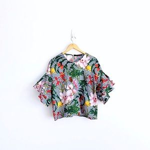 Zara Frill Sleeves Floral Blouse